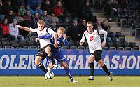 Fotball , 15. april 2012, Tippeligaen Eliteserien , Sogndal - Haugesund<br /> <br /> Foto: Christian Blom , Digitalsport                 Taijo Teniste, Ørjan Hopen (L) Sogndal. 9 Alexander Søderlund Haugesund
