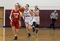 Rebecca Howe charges down court during first round play with Prospect Mountain at the 44th annual Holiday Basketball Tournament played at Gilford Middle/High School.  (Karen Bobotas/for the Laconia Daily Sun)