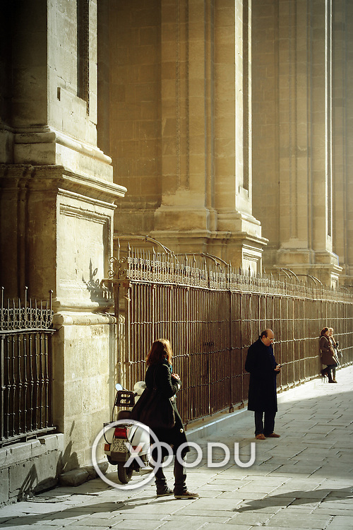 Waiting by the Cathedral, Granada, Spain (December 2006)