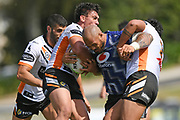 Warriors Leeson Ah-Mau in action in the NRL Trial, Vodafone Warriors v Wests Tigers, Rotorua Stadium, Rotorua, Sunday, March 01, 2020. Copyright photo: Kerry Marshall / www.photosport.nz