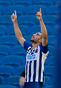 20th June 2020, American Express Stadium, Brighton, Sussex, England: Premier League football, Brighton v Arsenal.<br /> Neal Maupay celebrates scoring in the 95th minute to win 2-1.