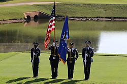 September 20, 2018 - Atlanta, GA, U.S. - ATLANTA, GA - SEPTEMBER 20: The color guard at the first round of the PGA Tour Championship on September 20, 2018, at East Lake Golf Club in Atlanta, GA. (Photo by Michael Wade/Icon Sportswire) (Credit Image: © Michael Wade/Icon SMI via ZUMA Press)