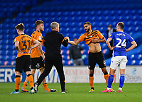 Football - 2019 / 2020 Sky Bet (EFL) Championship - Cardiff City vs. Hull City<br /> <br /> Hull City head coach Grant McCann with Kevin Stewart at the final whistle after their 3-0 defeat and relegation from the Championship, at the Cardiff City Stadium.<br /> <br /> COLORSPORT/ASHLEY WESTERN