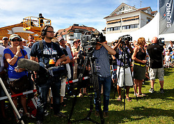The media gather to cover the prize giving at Match Race Germany. Photo: Chris Davies/WMRT
