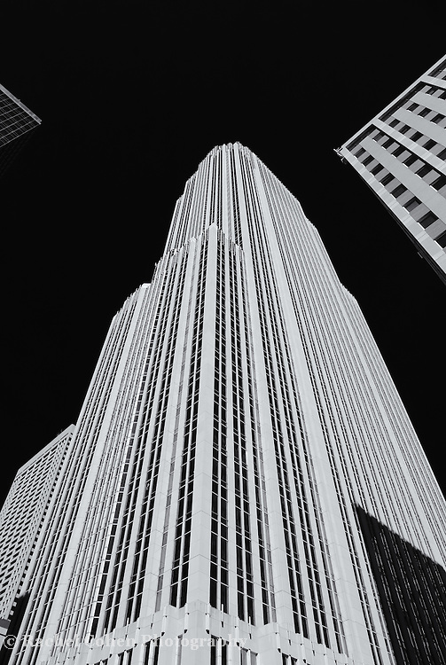 """""""Wells Fargo Center"""" mono<br /> <br /> A high contrast black and white image of the Wells Fargo Center in Minneapolis MN.<br /> <br /> Cities and Skyscrapers by Rachel Cohen"""