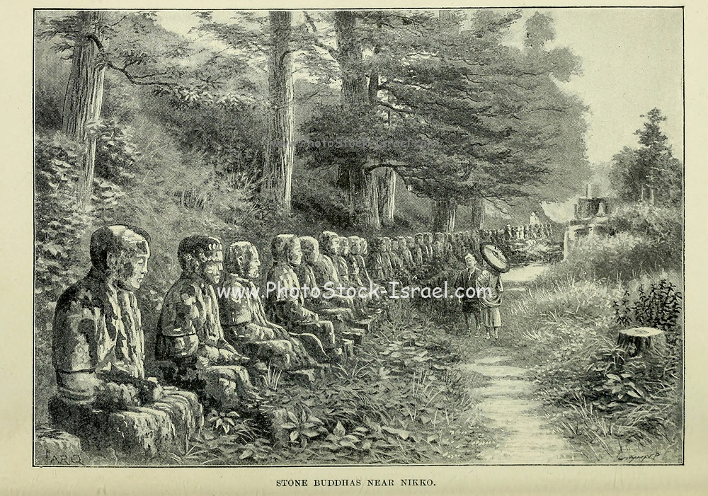 Stone Buddhas near Nikko from the book ' Rambles in Japan : the land of the rising sun ' by Tristram, H. B. (Henry Baker), 1822-1906. Publication date 1895. Publisher New York : Revell