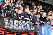 Rangers fans applaud their team after the Ladbrokes Scottish Premiership match between Hamilton Academical FC and Rangers at New Douglas Park, Hamilton, Scotland on 24 February 2019.