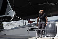 The IMOCA Ocean Masters. New York - Barcelona Race. The Hugo Boss Watches Charity Race. NFL All Pro - Jimmy Graham (USA) onboard the Hugo Boss IMOCA open 60 yacht with skippers Pepe Ribes (ESP) & Ryan Breymaier (USA)<br /> Credit: Mark Lloyd / Lloyd Images