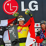 Markus Schairer (AUT), Mike Robertson (CAN), and Seth Wescott (USA) celebrate during the awards ceremony for the Snowboard-Cross event at the LG Snowboard World Cup held at Cypress Mountain, British Columbia on February 13th, 2009. Mandatory Photo Credit: Bella Faccie Sports Media\Thomas Di Nardo. Contact: Thomas Di Nardo, Snohomish, Washington, USA. Telephone 425-260-8467. e-mail: tom@bellafaccie.com