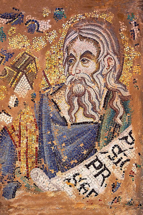 14th Century Mosaic of the Profit Elisha from the vault of the ante baptistery ( south section ), Basilica San Marco ( St Mark's Basilica ) Venice, Italy