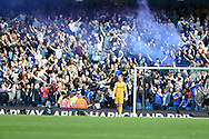 Man city goalkeeper Joe Hart looks on as Chelsea fans let of flair to celebrate their 1st goal. Barclays premier league match, Manchester city v Chelsea at the Etihad stadium in Manchester,Lancs on Sunday 21st Sept 2014<br /> pic by Andrew Orchard, Andrew Orchard sports photography.