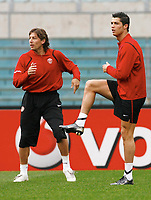 Photo: AF Wrofoto/Sportsbeat Images.<br />Manchester United training session. UEFA Champions League. 03/04/2007.<br />Gabriel Heinze and Cristiano Ronaldo during training.