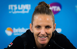 December 31, 2018 - Brisbane, AUSTRALIA - Karolina Pliskova of the Czech Republic talks to the media after her first-round match at the 2019 Brisbane International WTA Premier tennis tournament (Credit Image: © AFP7 via ZUMA Wire)