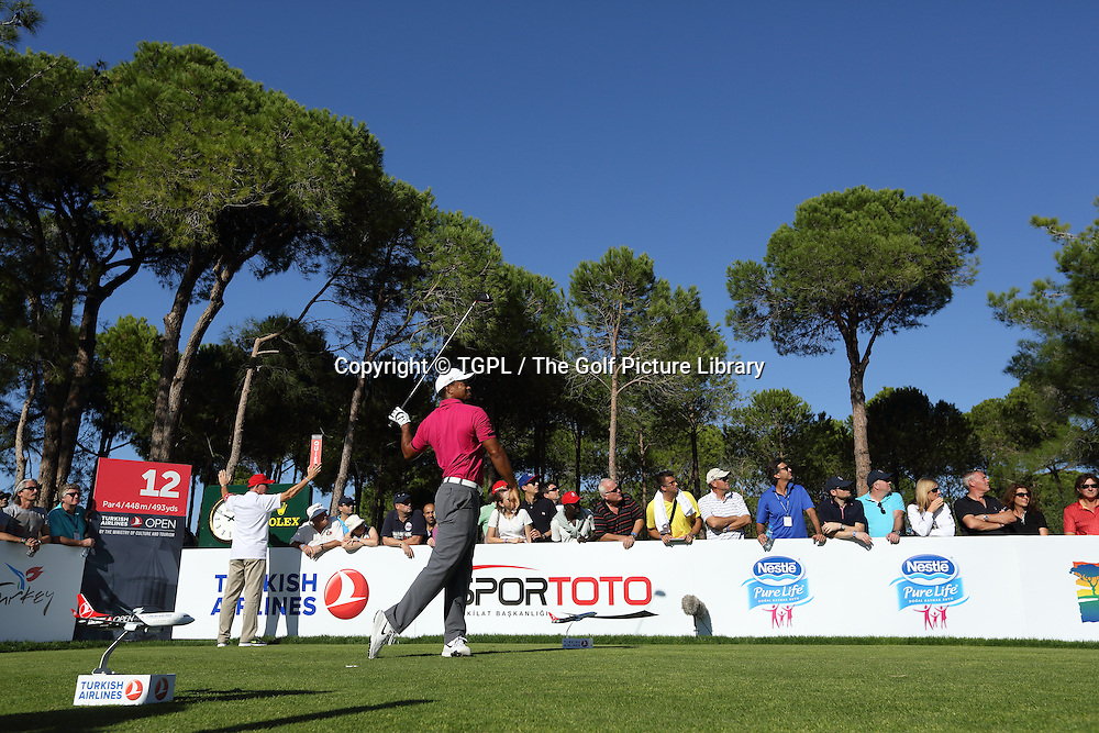 Tiger WOODS (USA) during third round Turkish Airlines Open by Ministry of Culture and Tourism 2013,Montgomerie Course at Maxx Royal,Belek,Antalya,Turkey.