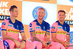 March 22, 2019 - Jaipur, Rajasthan, India - Rajasthan Royals players Steve Smith , Ben Strokes and Jos Butler addressing the media person during the team jersey unveiled ceremony ahead the IPL 2019 matches  in Jaipur, Rajasthan, India  on March 22,2019. (Credit Image: © Vishal Bhatnagar/NurPhoto via ZUMA Press)