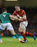Scott Williams of Wales looks to go past Conor Murray of Ireland.  RBS Six Nations 2017 international rugby, Wales v Ireland at the Principality Stadium in Cardiff , South Wales on Friday 10th March 2017.  pic by Andrew Orchard, Andrew Orchard sports photography