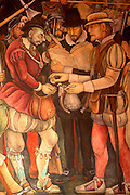 MEXICO, MEXICO CITY Rivera mural of Cortes, National Palace