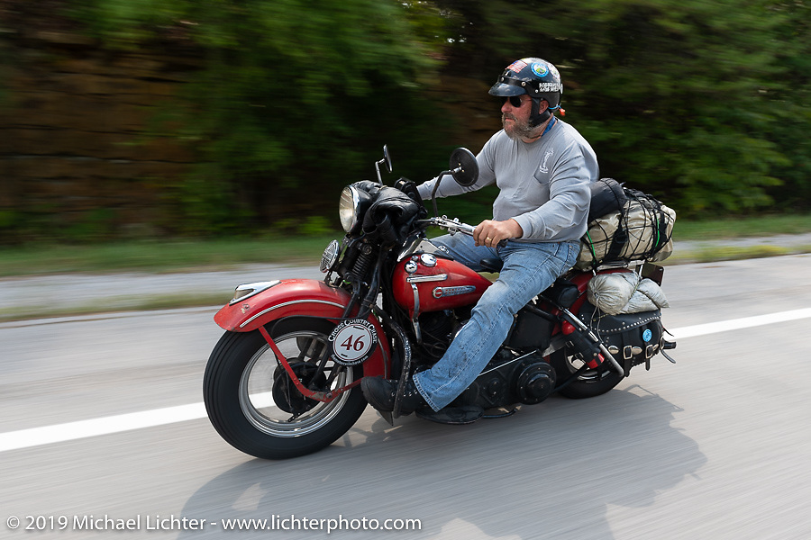 Matt Miller riding his 1947 Harley-Davidson Model U Flathead in the Cross Country Chase motorcycle endurance run from Sault Sainte Marie, MI to Key West, FL (for vintage bikes from 1930-1948). Stage 5 had riders cover 213 miles from Bowling Green, KY to Chatanooga, TN USA. Tuesday, September 10, 2019. Photography ©2019 Michael Lichter.