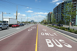May 29, 2017 - Richmond Hill, ON, Canada - RICHMOND HILL, ON- MAY 29  - The residesign of Highway 7in Markham and Richmond Hill,features a central transit routes and outer bike lanes as well as many lanes of traffic. in Richmond Hill. May 29, 2017.  Steve Russell/Toronto Star (Credit Image: © Steve Russell/The Toronto Star via ZUMA Wire)