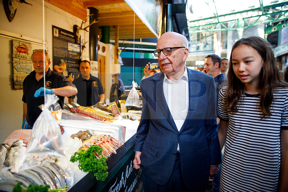 © Licensed to London News Pictures. 14/06/2017. London, UK. Owner of News Corp UK, RUPERT MURDOCH and his daughter CHLOE MURDOCH attend the reopening of Borough Market in London as it reopens on 14 June 2017, following a terror attack that killed 8 people over a week ago. Photo credit: Tolga Akmen/LNP