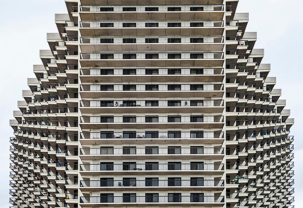 The beachside face of a apartment or condo building, Ocean City, Maryland, USA.