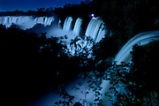 Cataracts of Iguazu Falls by full moonlight, Iguazu National Park, Argentina, South America