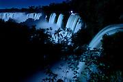 Cataracts of Iguazu Falls by full moonlight, Iguazu National Park, Argentina, South America