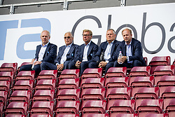 July 23, 2018 - Cluj, Romania - 180723 Board members of MalmÅ¡ FF Pontus Hansson, honorary chairman Bengt Madsen, Claes Malmberg, Anders PÅ'lsson and Lars Kongstad during during a press conference and practice ahead the UEFA Champions League qualifying match between Cluj and MalmÅ¡ FF on July 23, 2018 in Cluj..Photo: Ludvig Thunman / BILDBYRN / kod LT / 35508 (Credit Image: © Ludvig Thunman/Bildbyran via ZUMA Press)