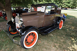 06 Aug 2011:  A 1929 Ford Model A Roadster with Rumble Seat owned by Connie Bachman displayed at the 15th Annual McLean County Car Association Antique Car show at David Davis Mansion, Bloomington Illinois