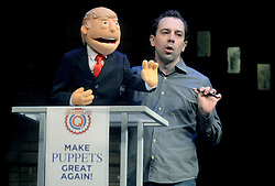 Donald Trump Puppet during the cast of 'Avenue Q' Hosts Town Hall With A Debate Between Puppets Hillary Clinton, 'I'm with Fur' played by Maggie Lakis & Donald Trump, 'Make Puppets Great Again' played by Rob McClure at the New World Stages on September 26, 2016 in New York City, NY, USA. Photo by Dennis Van Tine/ABACAPRESS.COM
