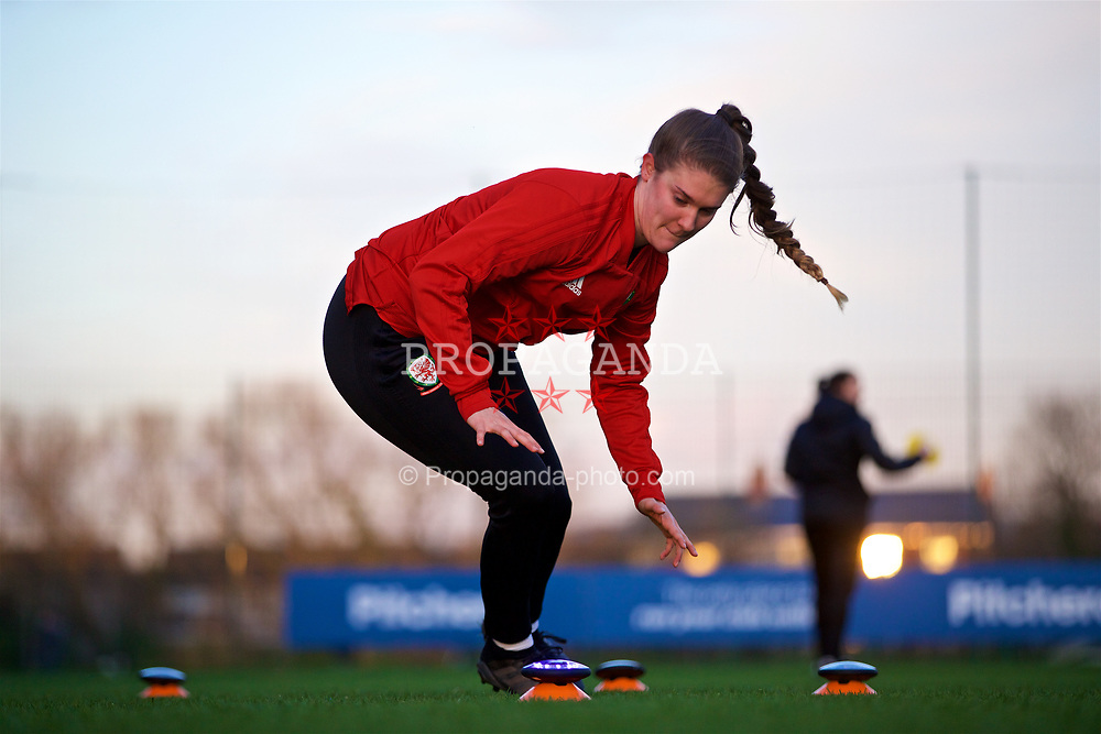 CARDIFF, WALES - Wednesday, January 16, 2019: Wales' goalkeeper Claire Skinner during a training session at Dragon Park ahead of the International Friendly game against Italy. (Pic by David Rawcliffe/Propaganda)