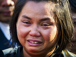November 3, 2018 - Bangkok, Bangkok, Thailand - ORNITHOPTER SRITAWAN, who said she knew Vichai Srivaddhanaprabha, weeps on the first day of funeral rites for Vichai at Wat Debsirin in Bangkok. She said she used to play tennis with Vichai. Vichai was the owner of King Power, a Thai duty free conglomerate, and the Leicester City Club, a British Premier League football (soccer) team. He died in a helicopter crash in the parking lot of the King Power stadium in Leicester after a match on October 27. Vichai was Thailand's 5th richest man. The funeral is expected to last one week. (Credit Image: © Sean Edison/ZUMA Wire)