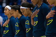Odyssey Sims of the Dallas Wings looks on during the National Anthem before tipoff against the Connecticut Sun during a WNBA preseason game in Arlington, Texas on May 8, 2016.  (Cooper Neill for The New York Times)