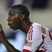 Bradley Wright-Phillips, New York Red Bulls, celebrates his hat-trick during the New York Red Bulls Vs Chicago Fire, Major League Soccer regular season match at Red Bull Arena, Harrison, New Jersey. USA. 10th May 2014. Photo Tim Clayton