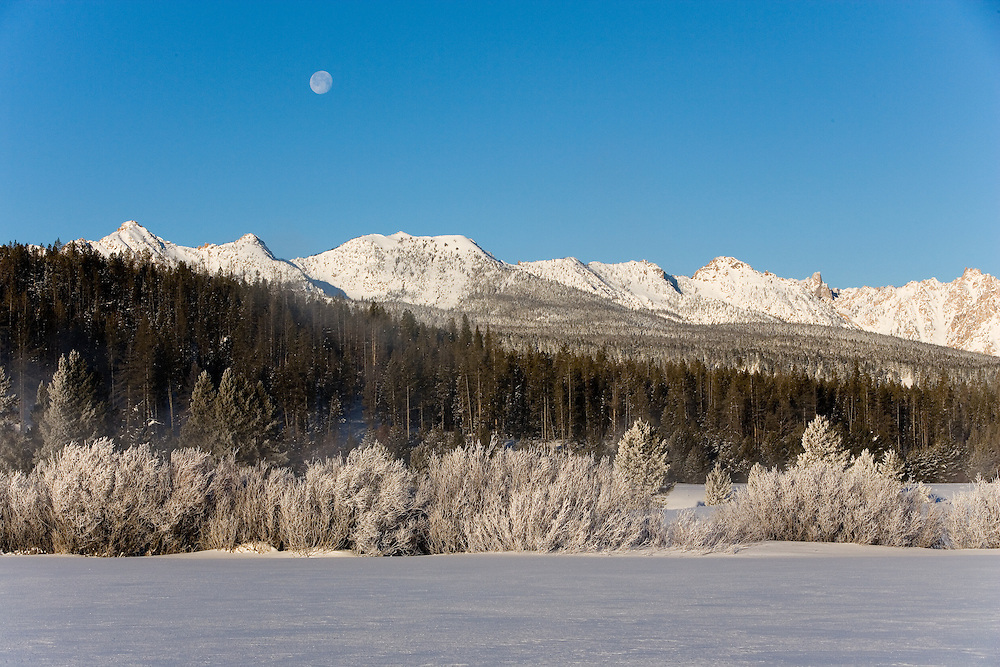 Sawtooth Mountain Ridgeline and Morning Moon in winter frost.  Licensing and Open Edition Prints.