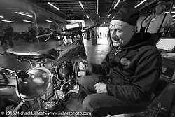 "Steve DeCosa working on his 1927 Harley-Davidson JD on the  Friday ""Rest Day"" between stages 7 and 8 of the Motorcycle Cannonball Cross-Country Endurance Run in Junction City, KS., USA. Friday, September 12, 2014.  Photography ©2014 Michael Lichter."