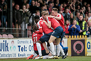 Jon Parkin (York City) scores his second goal of the game to get the home side level and give them a chance of earning all three points. 2-2 during the Vanarama National League match between York City and Forest Green Rovers at Bootham Crescent, York, England on 29 April 2017. Photo by Mark PDoherty.