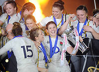 Rugby Union - 2019 Guinness Six Nations Championship -  Women England vs. Scotland <br /> <br /> England Captain Sarah Hunter with the trophy and team mates after winning the Grand Slam, at Twickenham.<br /> <br /> COLORSPORT/ANDREW COWIE