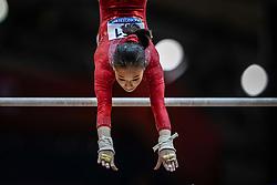 October 28, 2018 - Doha, Quatar - Jin Zhang of China   during  Uneven Bars qualification at the Aspire Dome in Doha, Qatar, Artistic FIG Gymnastics World Championships on 28 of October 2018. (Credit Image: © Ulrik Pedersen/NurPhoto via ZUMA Press)
