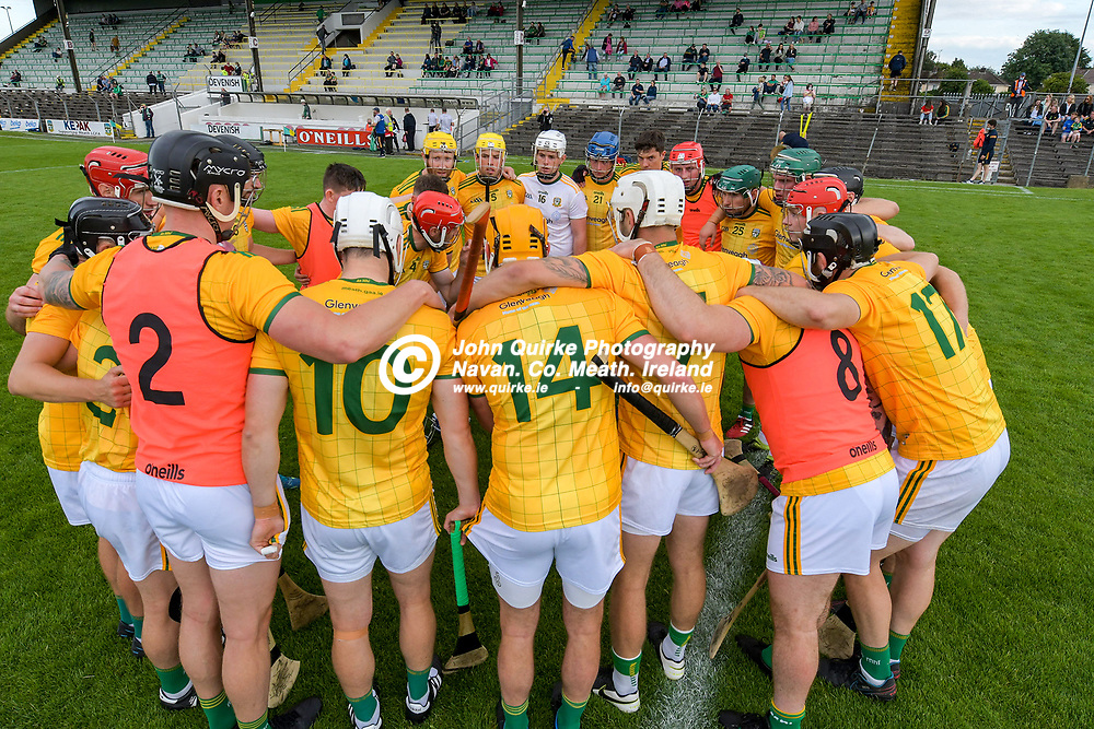 Meath captain, Sean Geraghty, rousing his players before the staart of the Meath v Kerry,  Joe McDonagh Cup match at Pairc Tailteann, Navan.<br /> <br /> Photo: GERRY SHANAHAN-WWW.QUIRKE.IE<br /> <br /> 10-07-2021