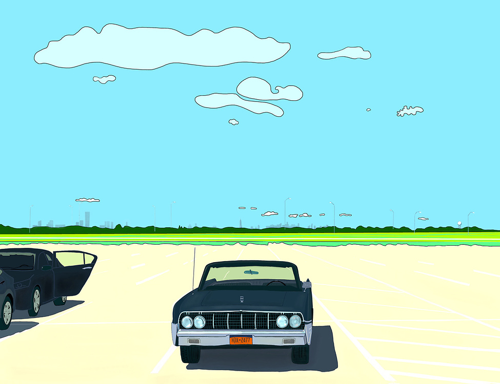 Drawing of a Convertible classic car parked in a quiet parking lot at Rockaway Beach with the New York City skyline in the distance.