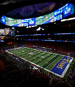 Tilt shift of the field before Super Bowl LIII between the Patriots and Rams in Atlanta.