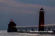 64795-03313 Grand Haven Lighthouse at sunset on Lake Michigan Grand Haven, MI