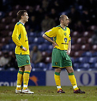 Photo: Jed Wee.<br /> Burnley v Norwich City. Coca Cola Championship. 24/03/2006.<br /> <br /> Norwich's Craig Fleming (R) and Jonathan Johansson show their disappointment after conceding the first goal.