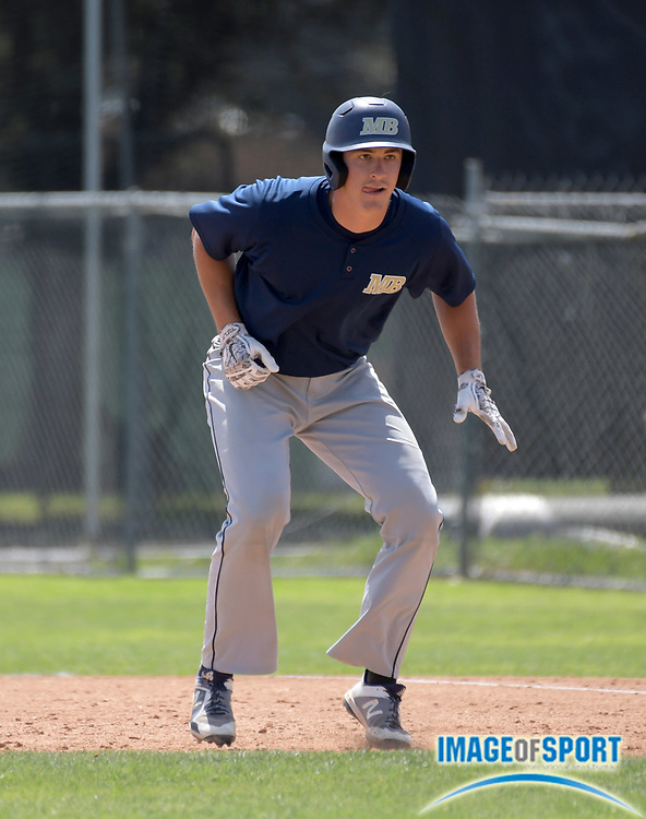 Cal State Monterey Bay Otters first baseman Hayden Duer during an NCAA College baseball game against the Cal  Poly Pomona Broncos in Pomona, Calif., Friday, April 13, 2018.