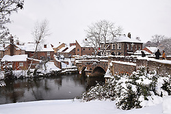 Snow, Bishop's Bridge, Norwich Feb 2018 UK