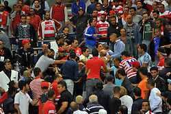 October 22, 2017 - Rades, Tunisia - Brawl between suporters of CA during the Semi-final return of the CAF Cup between Club Africain (CA) and Supersport United FC of South Africa at the stadium of Rades  in Tunis..Club Africain lost (1-3) against the South African Super Sport Utd who will face TP Mazembe in the final. (Credit Image: © Chokri Mahjoub via ZUMA Wire)