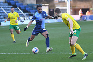 Wycombe Wanderers midfielder Garath McCleary (19)sprints forward with the ball during the EFL Sky Bet Championship match between Wycombe Wanderers and Norwich City at Adams Park, High Wycombe, England on 28 February 2021.