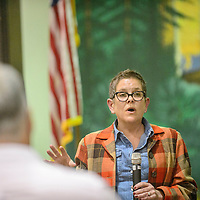Lisa Price of the  Environmental Protection Agency addresses visitors about the status of the Homestake Mine Site during a public forum at the Cibola County Complex in Grants Tuesday.