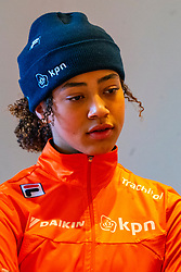 Georgie Dalrymple during the press conference for ISU World Cup Finals Shorttrack 2020 on February 12, 2020 in Museum Dordrecht.